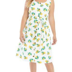 NWT The Limited Sleeveless Lemon Print Dress Sz 2X